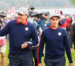Mickelson and Fowler At The Ryder Cup In Morning Foursomes
