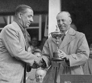 Walter Hagen Accepts The 1937 Ryder Cup Trophy