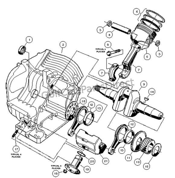 club car golf cart engine diagram