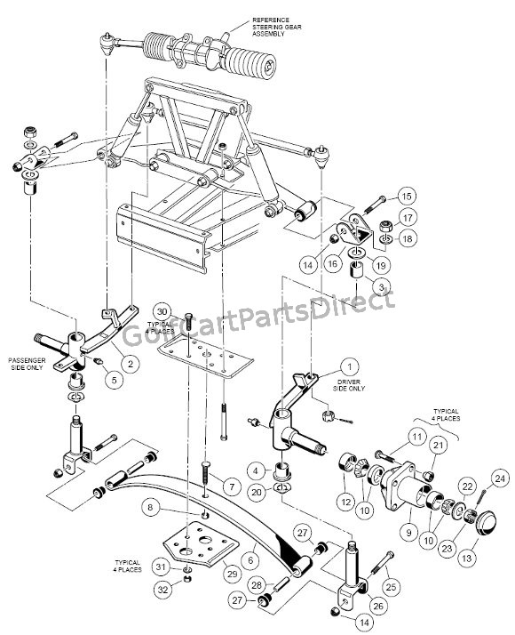 club car front suspension parts diagram lower