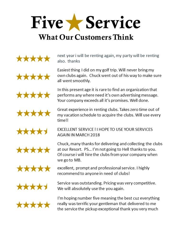 Customer Service - Golf Club Rental Express Golf Club Rental Express