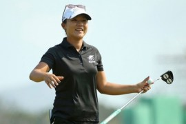 Lydia Ko celebrates an ace in Rio