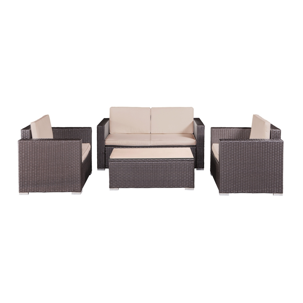 Sofa Open Box Open Box Palm Springs Modern 4 Piece Furniture Wicker Patio Set
