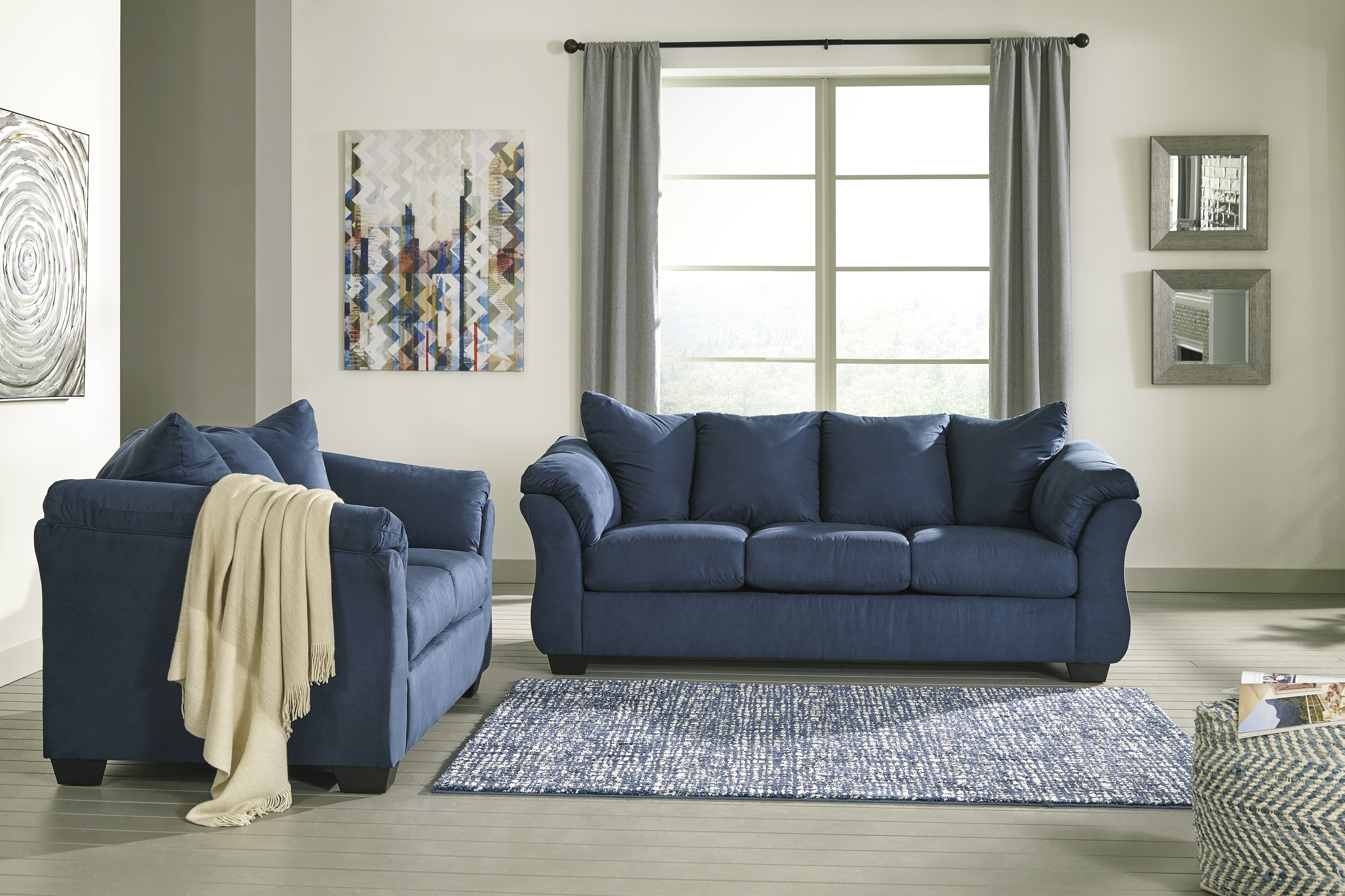 Majik Darcy Blue Sofa And Loveseat Rent To Own