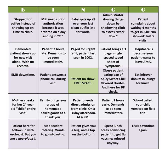 Healthcare Practitioner Bingo - Why Should Patients Have All the Fun