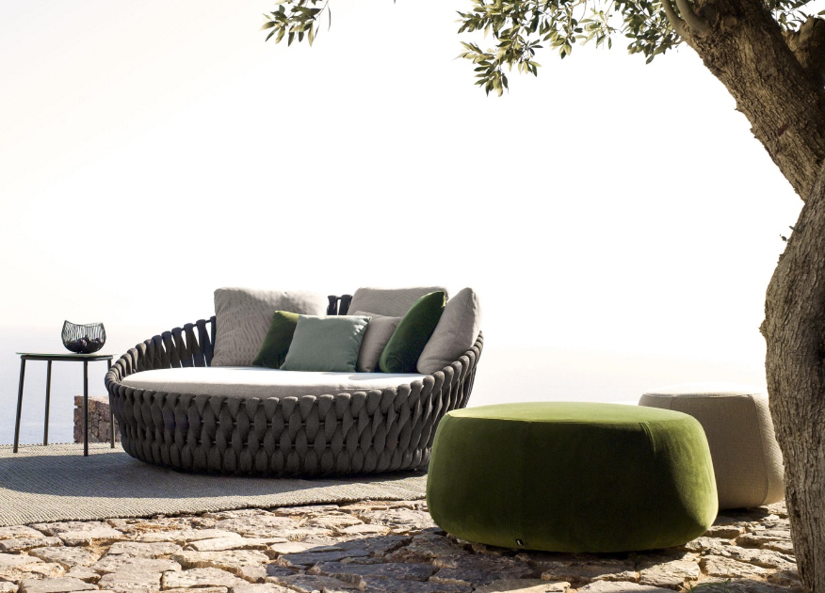 Tribu Nomad Velvet Garden Pouf Tribu Outdoor Furniture At Go Modern