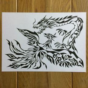 中国神話の四神「青龍」と「朱雀」をモチーフにご依頼!模様で書くアートな絵のオーダメイド