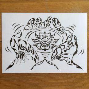 ご自身のロゴマークとしても!水に浮かぶ蓮の花を手ですくう絵のオーダーメイド