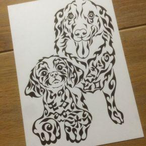 2匹の愛犬をモチーフに!犬好きの方にオススメの模様で描く絵のオーダーメイド
