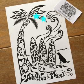 出産祝いや新築祝いにも喜んでいただける!サーフィン好きな家族に贈る名前が入った絵のプレゼント