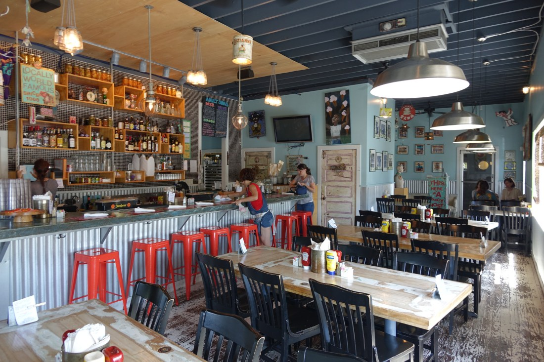 At the river end of Oak Street is the utterly (or udder-ly) charming Cowbell, a casual lunch and dinner spot in a renovated service station.