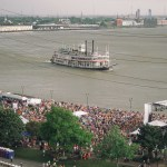 The steamboat Natchez passes (and docks) in front of Woldenberg Park.