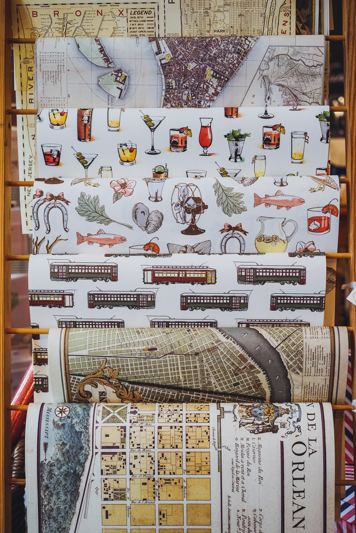 Scriptura's unique wrapping paper is almost too pretty to use as wrapping paper! Whether it's classic New Orleans cocktails, Louisiana seafood, streetcars or vintage maps, make an impression with their signature paper goods.