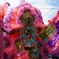 A member of the 7th Ward Head Hunters tribe on Mardi Gras Indian Super Sunday 2015. (Photo: Paul Broussard)
