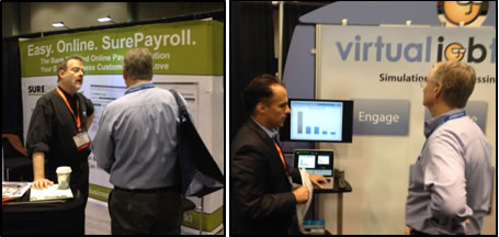 Terence getting briefings from SurePayroll and Virtual Job Tryout in the Expo