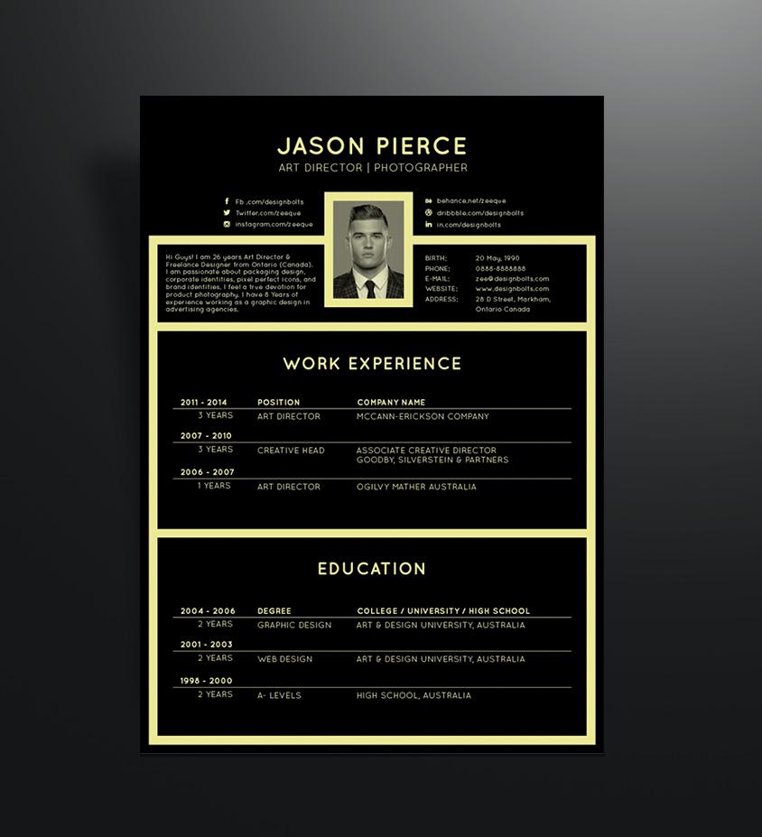 Free Black Elegant Resume CV Design Template for Art Director