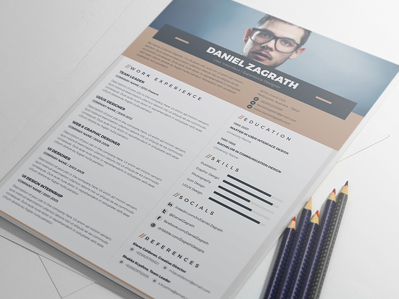 Free Resume Template For UI, UX, Web  Graphic Designers - Good Resume