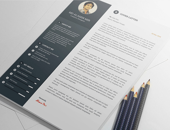 Free Resume Template with Portfolio \ Cover Letter For Creative - cover letter designs