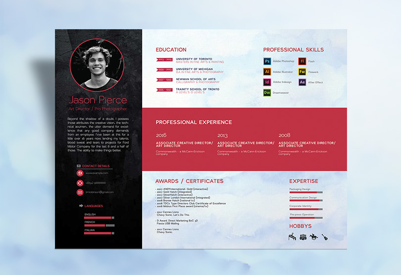 Modern Resume (CV) Design Template In PSD, Ai, EPS, INDD, CDR, DOC