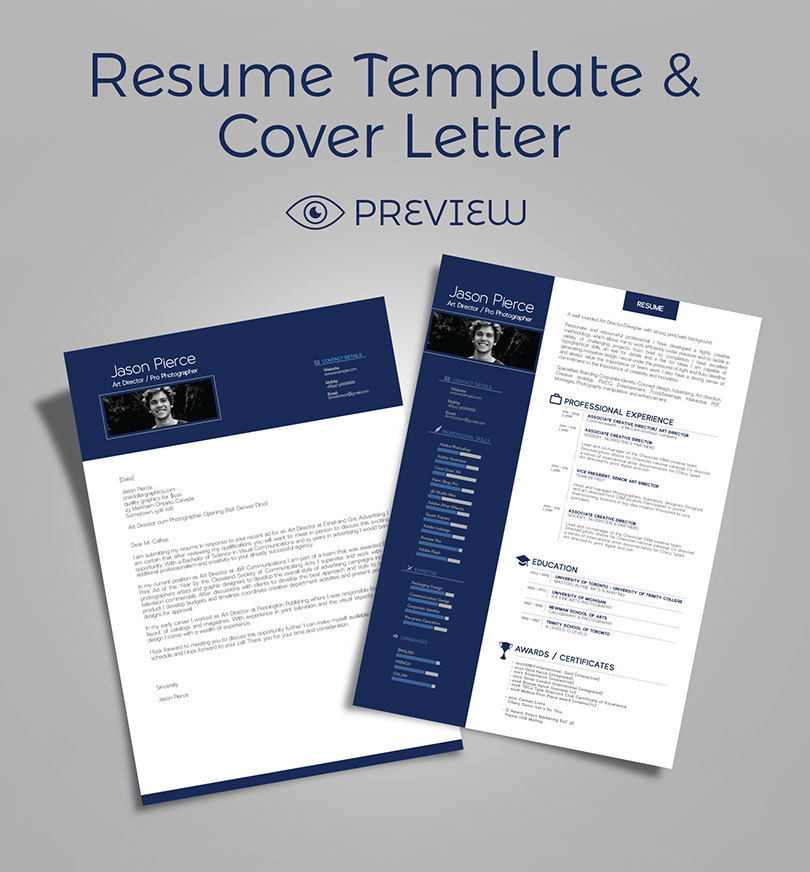 Simple Premium Resume (CV) Design, Cover Letter Template, 4 PSD Mock