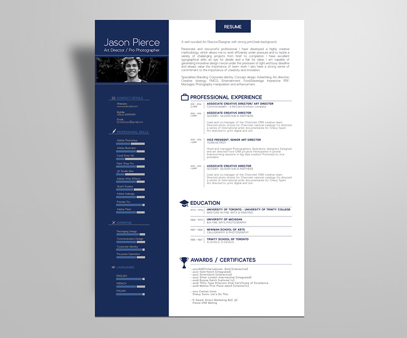 Simple Premium Resume (CV) Design, Cover Letter Template, 4 PSD Mock - resume design
