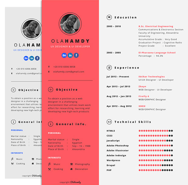 Free Clean Simple / Minimal Interactive Resume Design Template for - ux design resume