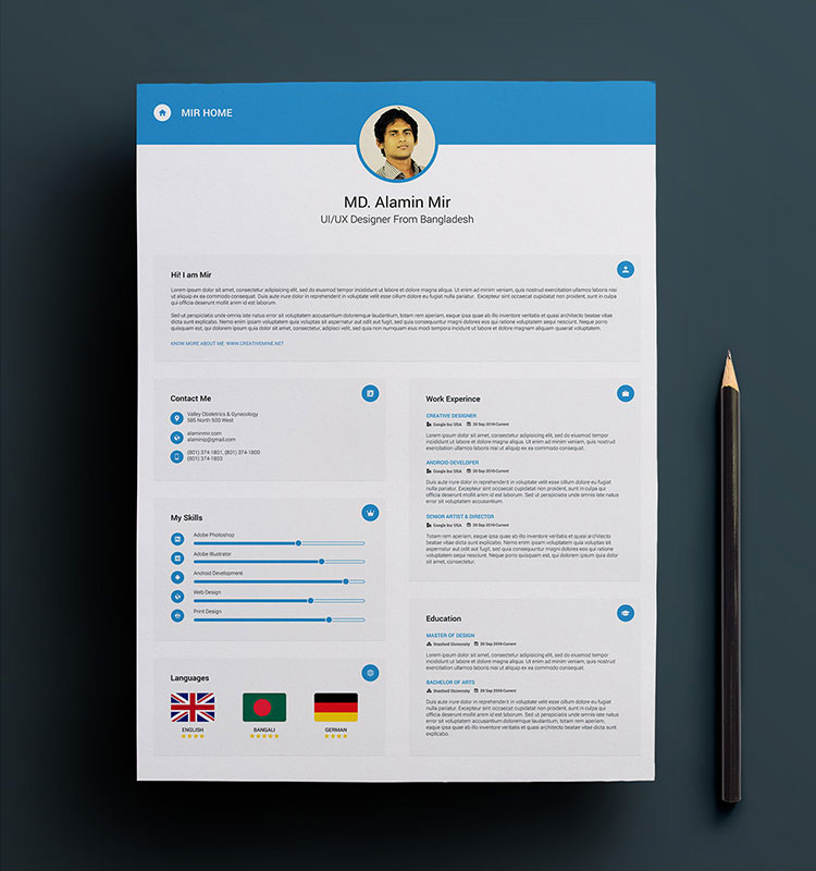 Free Simple Resume, Cover Letter  Business Card Design Template in - free resume template design