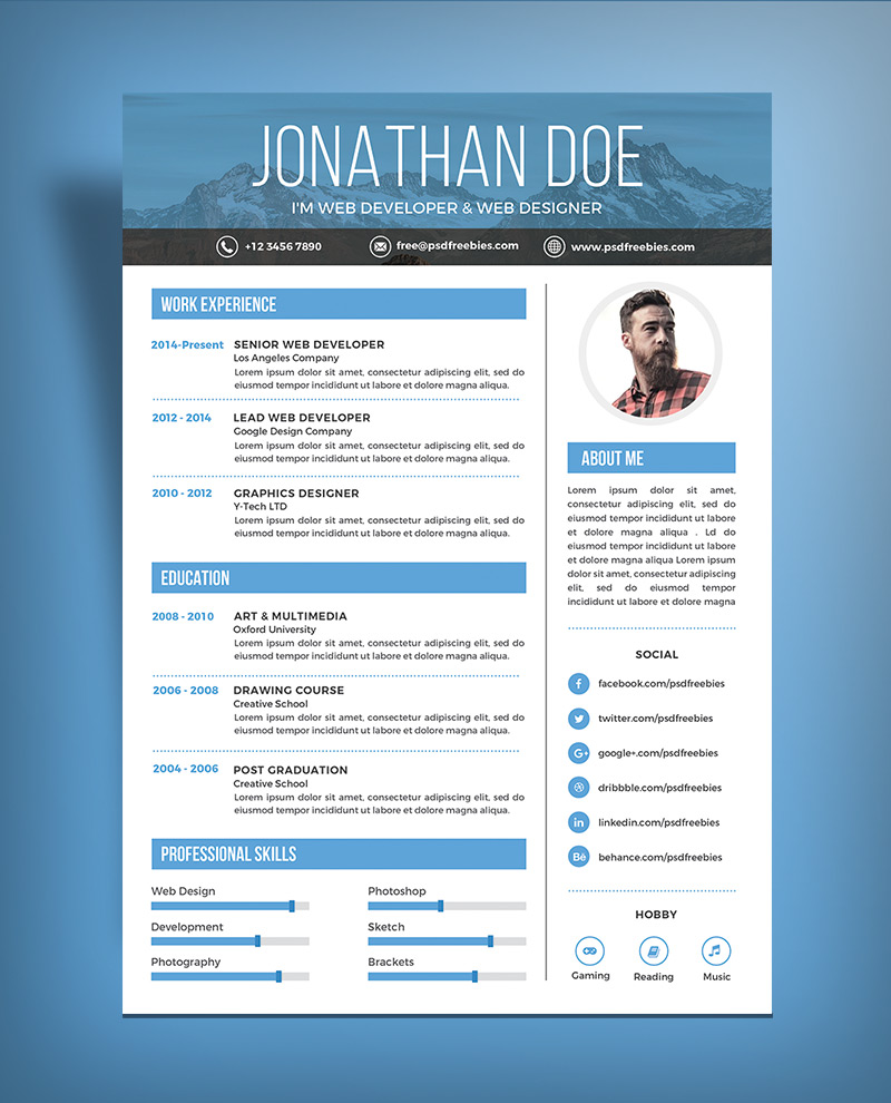 Download 35 Free Creative Resume Cv Templates Xdesigns Free Simple Resume Design Template For Web Graphic