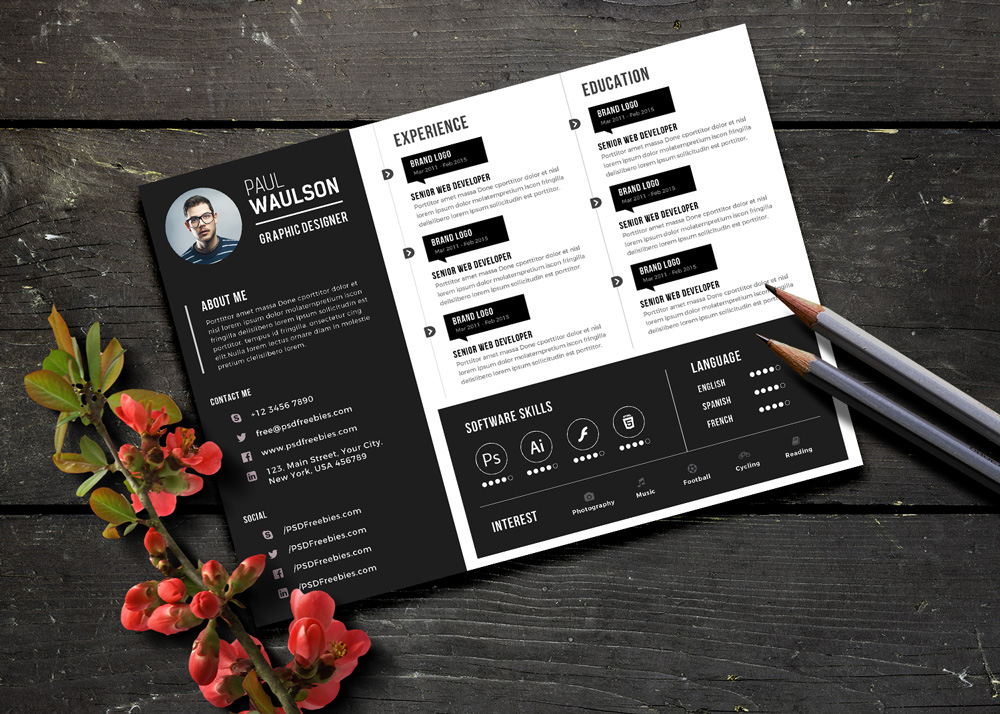 horizontal cv template psd
