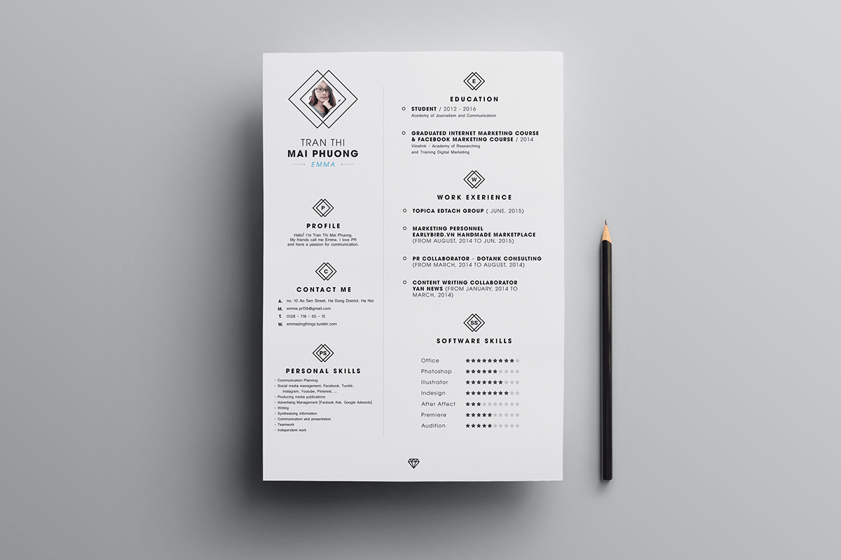 template cv indesign word