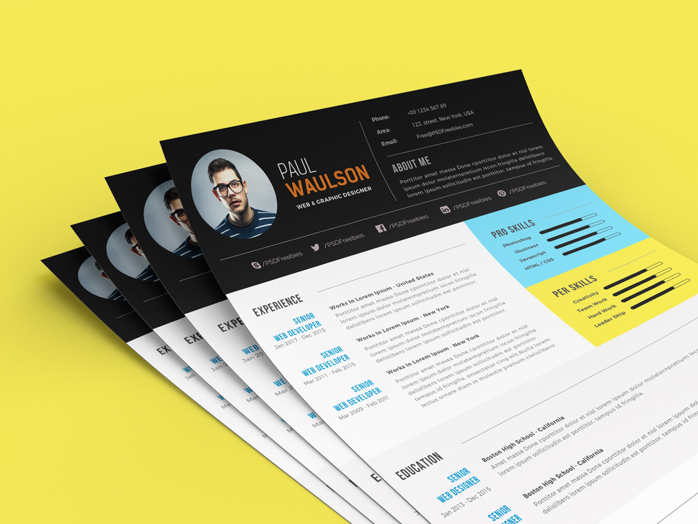 Free Modern Resume Template For Web / Graphic Designer PSD File