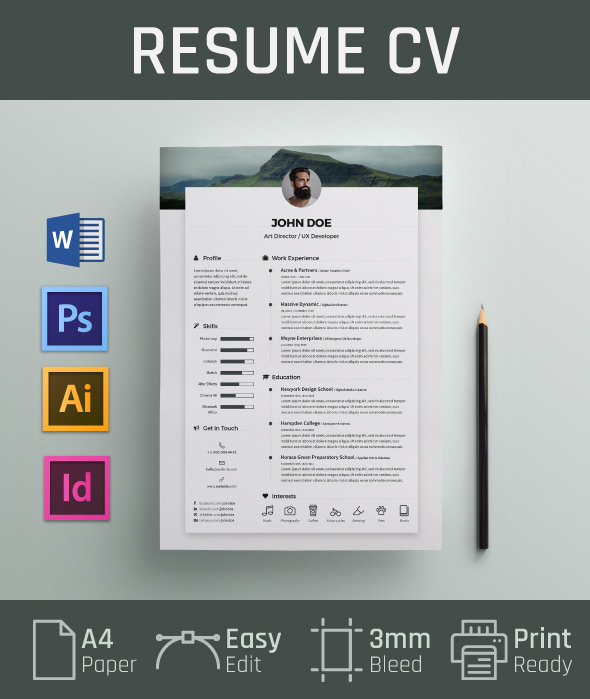 Free Resume CV Design Template  Cover Letter In DOC, PSD, AI  INDD - Resume Design