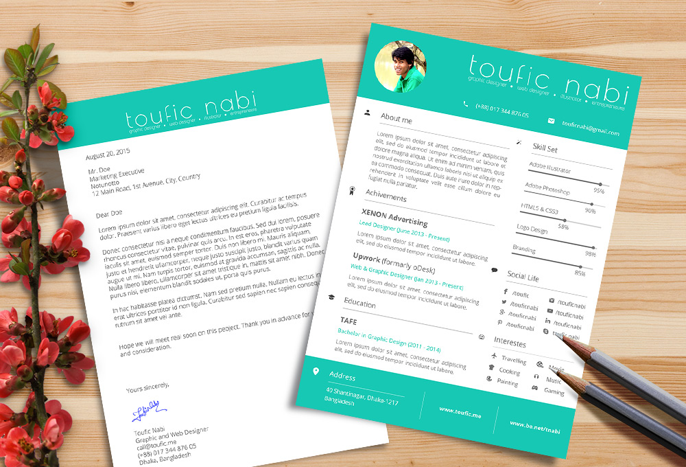 Free Resume Design Template \ Cover Letter For Designers PSD File - cover letter designs