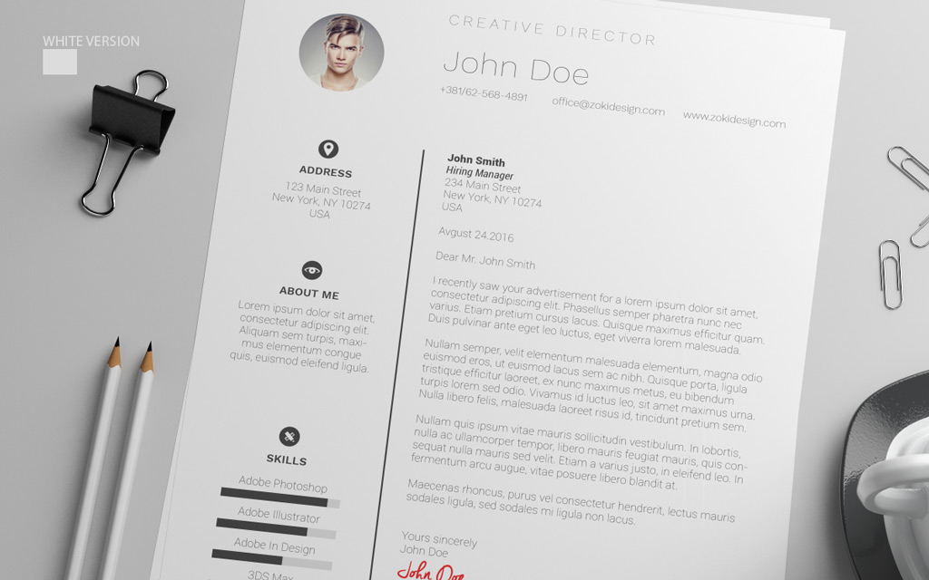 Free Resume Design Template With Cover Letter in PSD, AI  DOC - free resume cover letter templates