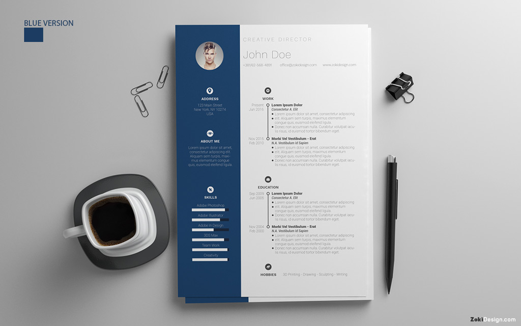 Free Resume Design Template With Cover Letter in PSD, AI  DOC