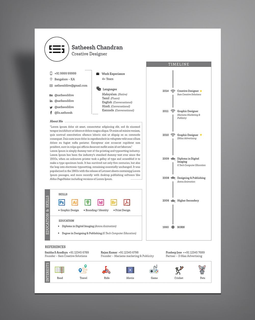 professional cv layout template