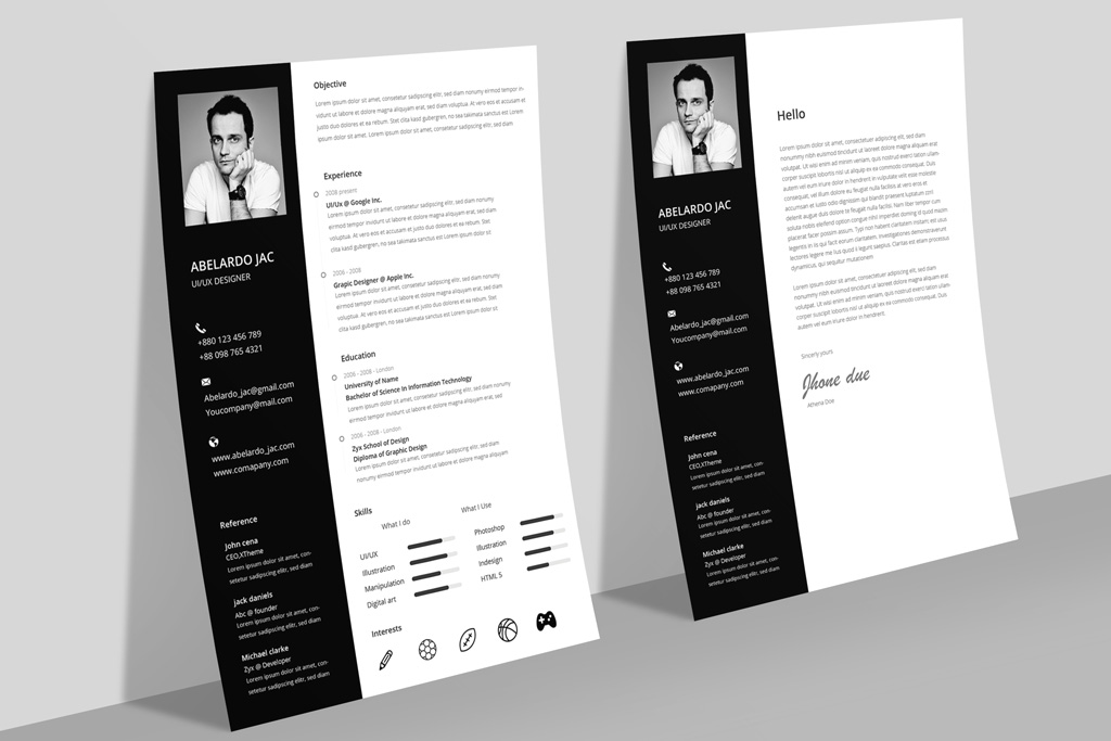 Classy Black  White Resume (CV) Template With Cover Letter Free PSD
