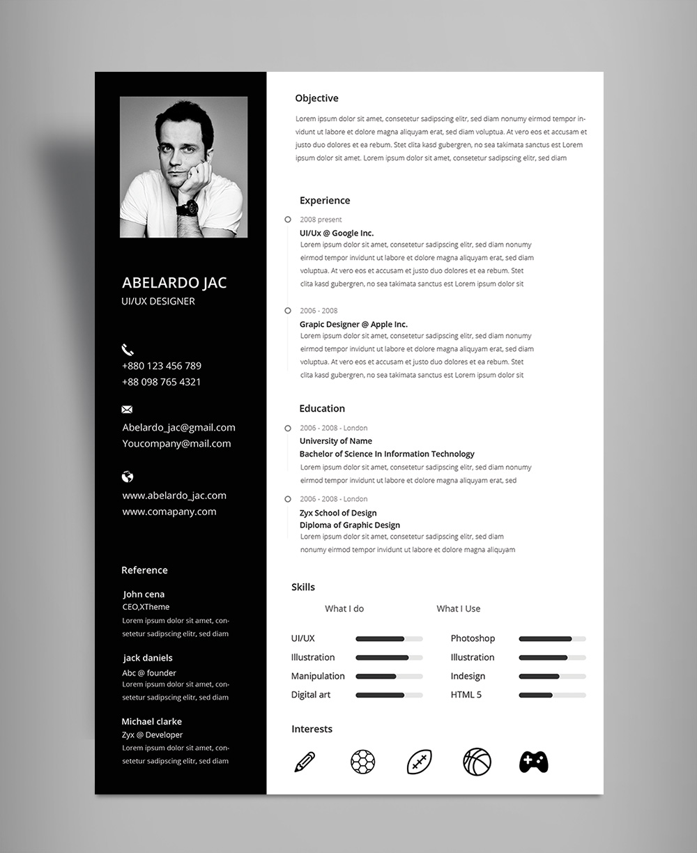 Submit Cv >> Naurex Classy Black And White Resume Cv Template With Cover