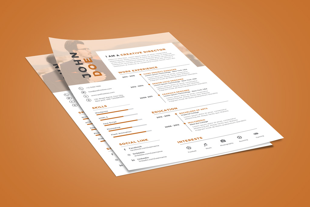 Free Creative Executive Resume (CV) Design Template PSD File - Good