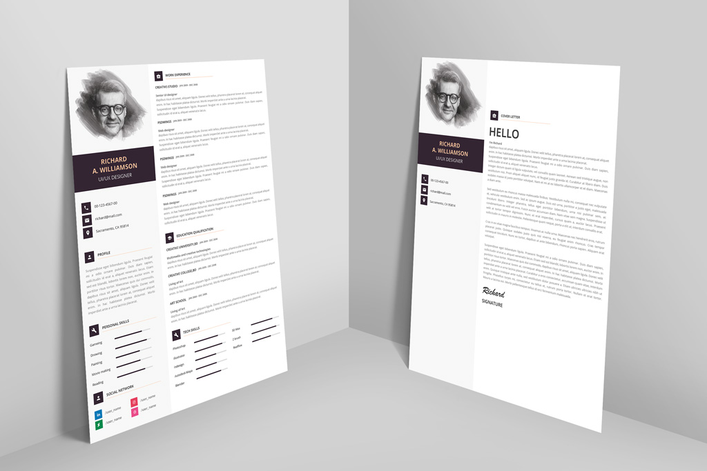 Creative Professional Resume (CV) Design Template With Cover Letter - creative cover letters