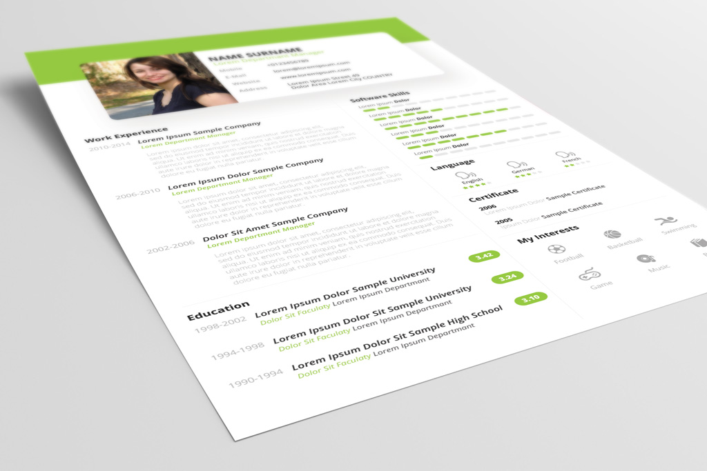design cv template psd