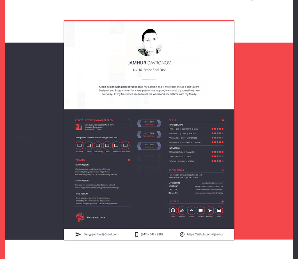 cv web design template