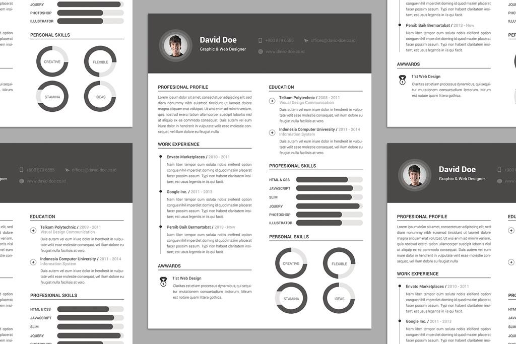 Free Elegant Resume (CV) Design Template PSD File - Good Resume