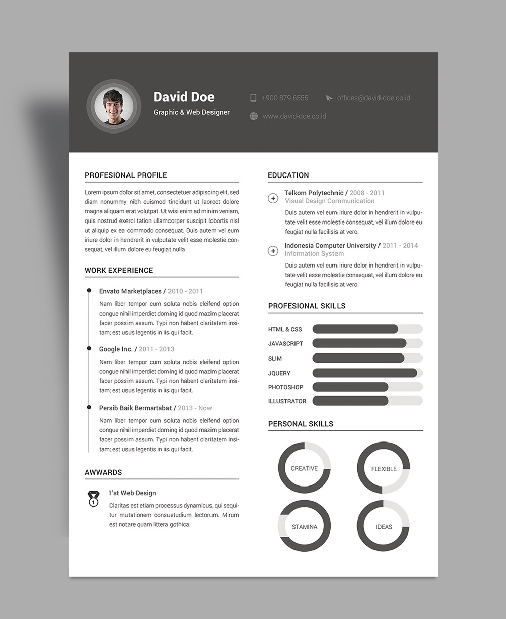 indesign resume template cs6 english cv quebec