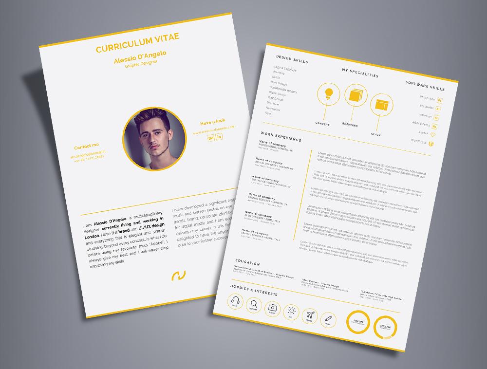 Free Professional 2 Page Resume Design (CV) Template Ai File - Good