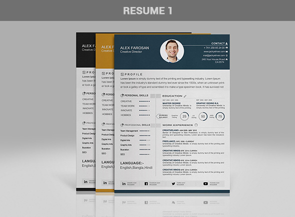 Free Professional Resume (CV) Template In 3 Different Color With