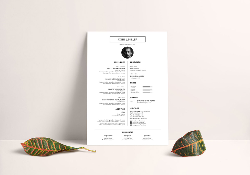 Free Simple Resume Layout CV Design Template PSD File - Good Resume