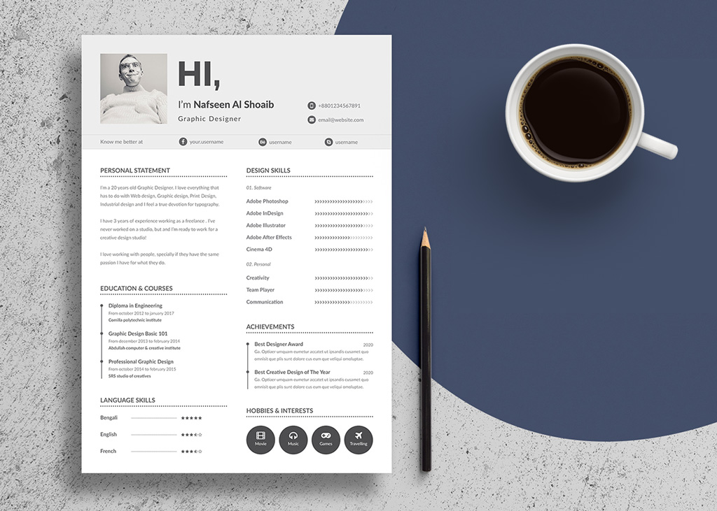 Free Unique Resume Design (CV) Template In PSD  Ai Files - Good Resume