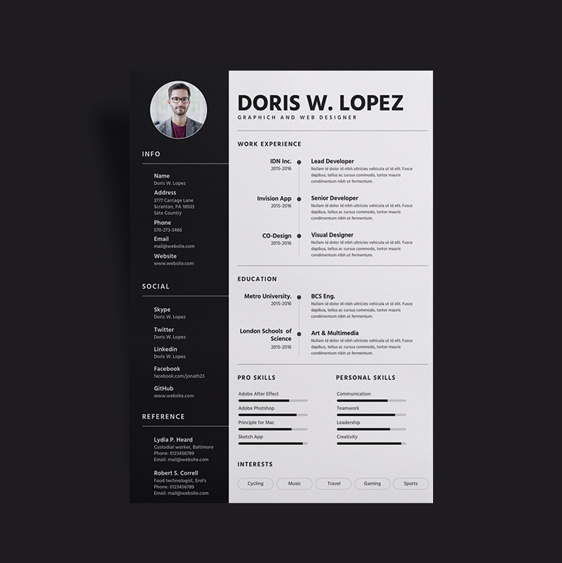 Things To Put On Resume Free Simple & Professional Resume (cv) Design Template For