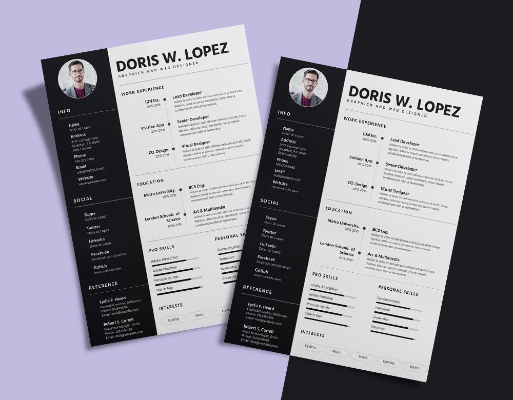 Free Simple  Professional Resume (CV) Design Template For Designer